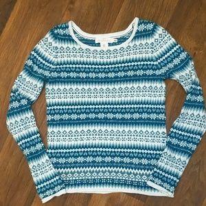 H&M logg blue snowflake crewneck sweater xs